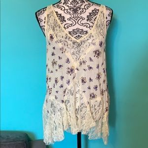 Free People Lace Floral Flow Tank Top Blouse S